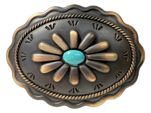 Western Antique Copper Patina With Simulated Turquoise Belt Buckle