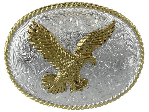 Western Bright Gold Silver Engraved American Eagle Belt Buckle
