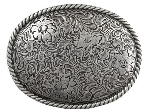 Western Antique Silver Floral Engraved Pattern Rope Edged Belt Buckle