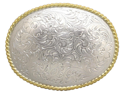 Western Shiny Sterling Silver Flower Engraved Pattern Rope Edged Belt Buckle