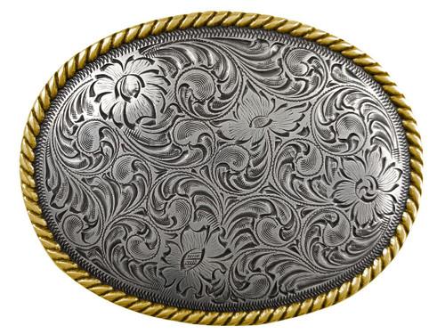 Western Antique Silver Flower Engraved Pattern Gold Rope Edged Belt Buckle