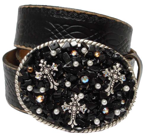 "Genuine Full Grain Engraved Embossed Leather Belt 1-1/2""(38mm) Wide"