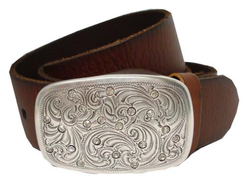"""Rhinestone Crystal Floral Engraved Buckle Genuine Full Grain Leather Belt 1-1/2""""(38mm) Wide"""