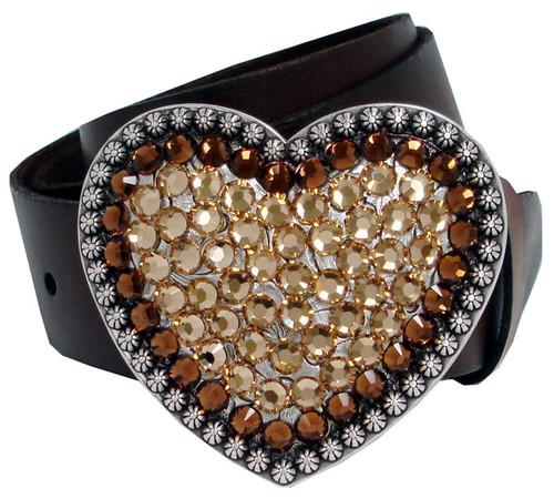 "Colorado Topaz Rhinestone Crystal Heart Buckle Genuine Full Grain Leather Belt 1-1/2""(38mm) Wide"