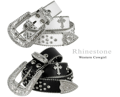 "50127 Rhinestone Belt Fashion Western Bling Crystal Genuine Leather Belt 1-1/2""(38mm) Wide"