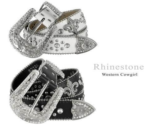 "50124 Rhinestone Belt Fashion Western Bling Crystal Genuine Leather Belt 1-1/2""(38mm) Wide"