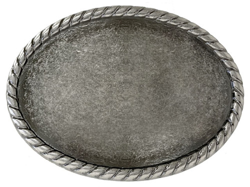 """Rope Edge Engrave Buckle Oval Blank Plain Buckle Fits 1-1/2""""(38mm) Belt Strap-Antique Silver"""