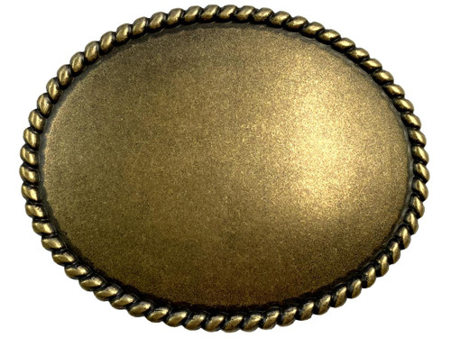 """Rope Edge Engrave Buckle Oval Blank Plain Buckle Fits 1-1/2"""" (38mm) Belt Strap-Antique Brass"""