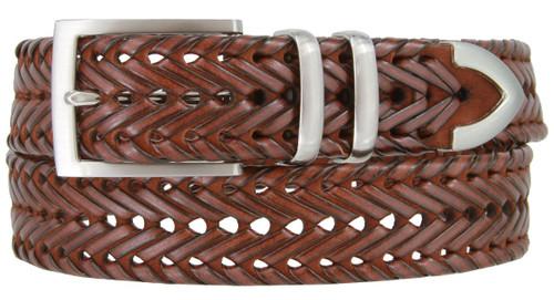 "Men's Belt Braided Woven Genuine Leather Dress Casual Belt 1-3/8""(35mm) Wide"