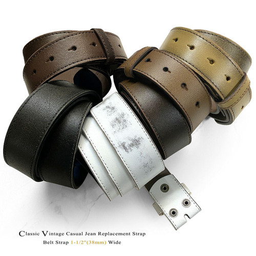 """BS57 Vintage Classic Casual Jean Genuine Leather Belt Strap with Snaps on 1-1/2""""(38mm) Wide"""