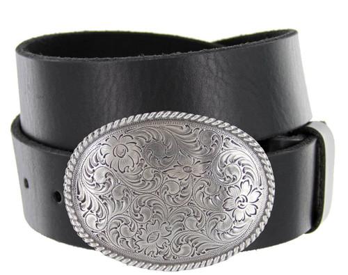 "Western Antique Floral Engraved Buckle Genuine Full Grain Leather Casual Jean Belt 1-1/2""(38mm) Wide"