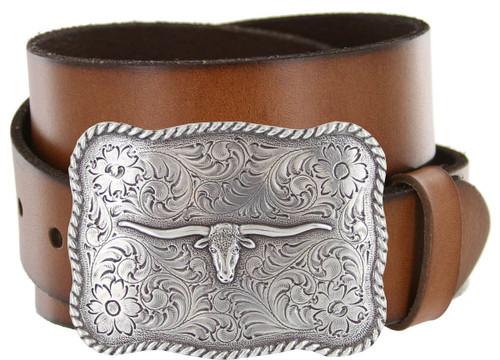 "Western Antique Longhorn Buckle Genuine Full Grain Leather Casual Jean Belt 1-1/2""(38mm) Wide"
