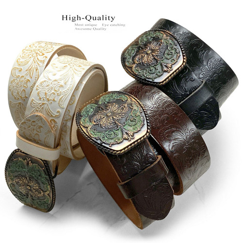 """Western Floral Engraved Tooled Genuine Full Grain Leather Casual Jean Belt  1-1/2""""(38mm) Wide"""