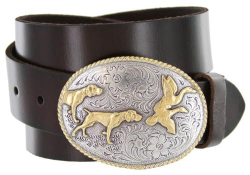"Western Hunting Dogs Buckle Genuine Full Grain Leather Casual Jean Belt 1-1/2""(38mm) Wide"