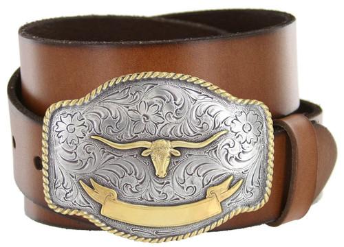 "Western Floral Gold Longhore Buckle Genuine Full Grain Leather Casual Jean Belt 1-1/2""(38mm) Wide"