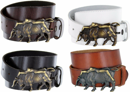 """Antique Copper Lady Bull Engraved Buckle Genuine Full Grain Leather Casual Jean Belt 1-1/2""""(38mm) Wide"""