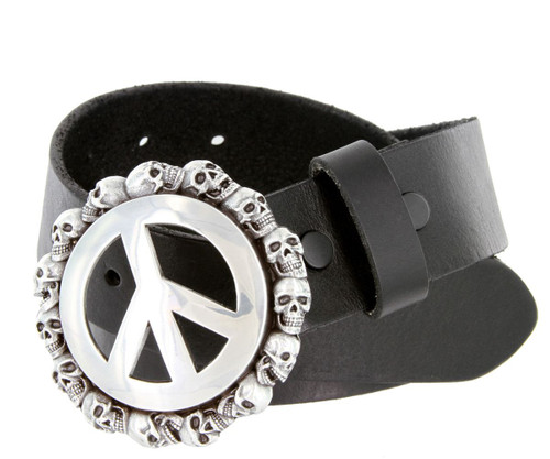 "Peace Sign Skull Buckle Genuine Full Grain Leather Casual Jean Belt 1-1/2""(38mm) Wide"