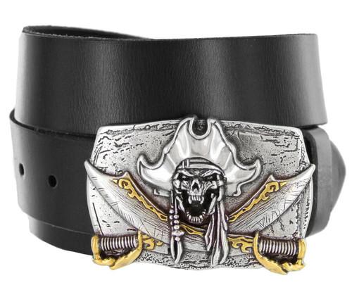 "Pirate Skull Punk Buckle Genuine Full Grain Leather Casual Jean Belt 1-1/2""(38mm) Wide"