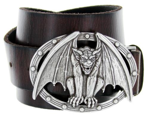 "Vampire Bat Buckle Genuine Full Grain Leather Casual Jean Belt 1-1/2""(38mm) Wide"