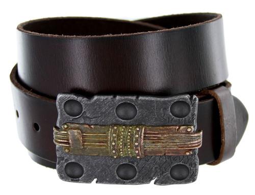 "Steampunk Vintage Copper Buckle Genuine Full Grain Leather Casual Jean Belt 1-1/2""(38mm) Wide"