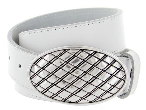 "Antique Basketweave Engraved Oval Buckle Genuine Full Grain Leather Casual Jean Belt 1-1/2""(38mm) Wide"