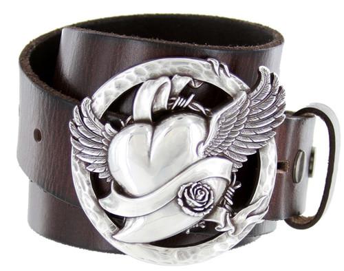 "Antique Flying Heart Buckle Genuine Full Grain Leather Casual Jean Belt 1-1/2""(38mm) Wide"