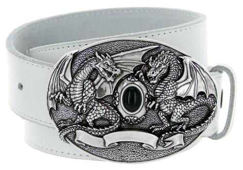 "Black Jet Twin Dragon Engraved Buckle Genuine Full Grain Leather Casual Jean Belt 1-1/2""(38mm) Wide"