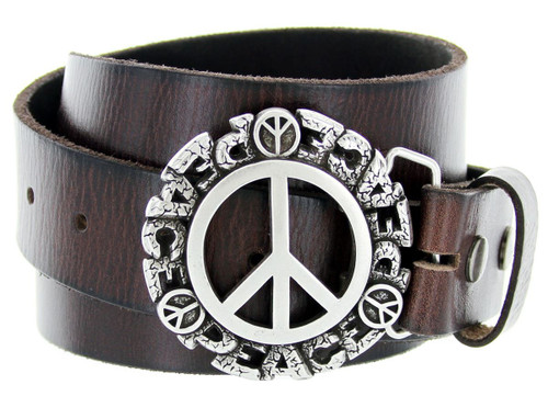 """Antique Peace Sign Engraved Buckle Genuine Full Grain Leather Casual Jean Belt 1-1/2""""(38mm) Wide"""