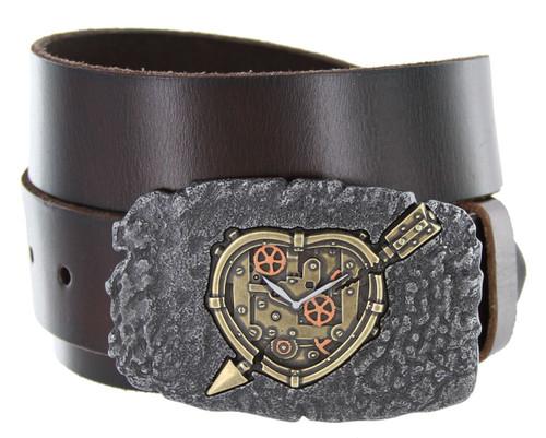 """Steampunk Arrow Heart Engraved Buckle Genuine Full Grain Leather Casual Jean Belt 1-1/2""""(38mm) Wide"""