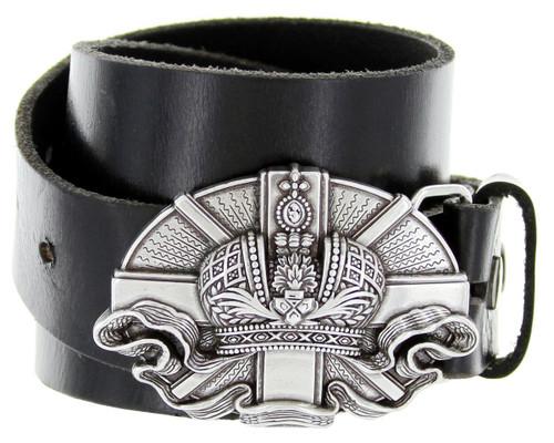 "Antique Vatican Engraved Buckle Genuine Full Grain Leather Casual Jean Belt 1-1/2""(38mm) Wide"