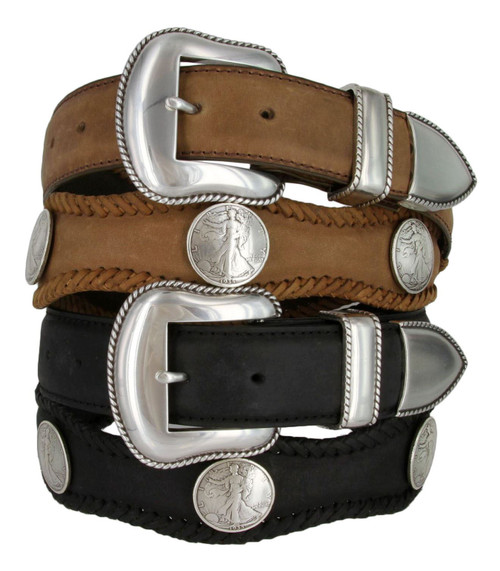 """Walking Liberty Coin Conchos Crazy Horse Scalloped Genuine Leather Western Belt 1-1/2""""(38mm) Wide"""