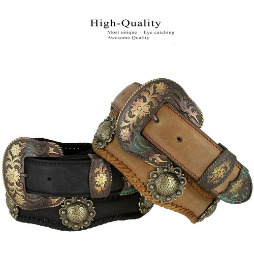 "Cowboy Cowgirl Western Belt Vintage Crazy Horse Scalloped Genuine Leather Conchos Belt 1-1/2""(38mm) Wide"