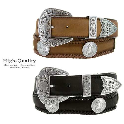 """Texas Eagle Star Coin Conchos Crazy Horse Scalloped Genuine Leather Western Belt 1-1/2""""(38mm) Wide"""