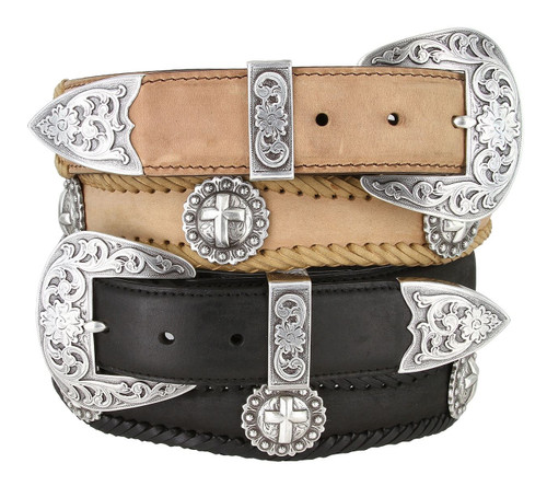 """Silver Cross Conchos Crazy Horse Scalloped Genuine Leather Western Belt 1-1/2""""(38mm) Wide"""