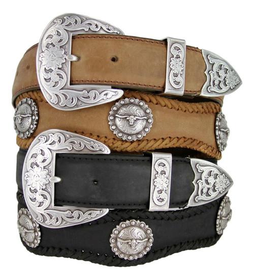 "Silver Laredo Longhorn Steer Conchos Crazy Horse Scalloped Genuine Leather Western Belt 1-1/2""(38mm) Wide"