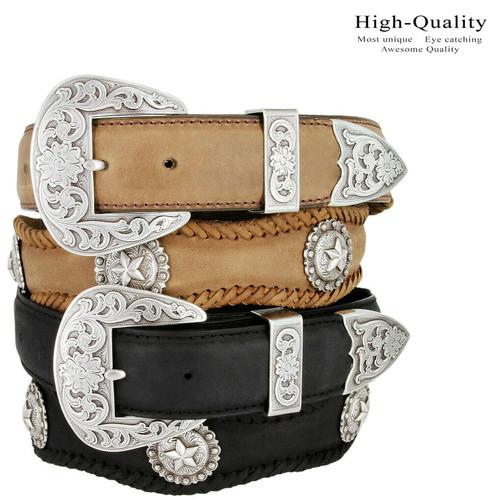 "Silver Abilene Star Conchos Crazy Horse Scalloped Genuine Leather Western Belt 1-1/2""(38mm) Wide"