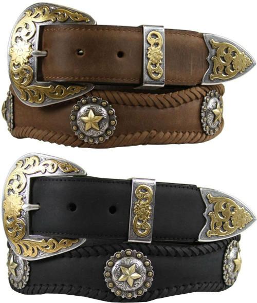 "Abilene Gold Star Conchos Crazy Horse Scalloped Genuine Leather Western Belt 1-1/2""(38mm) Wide"