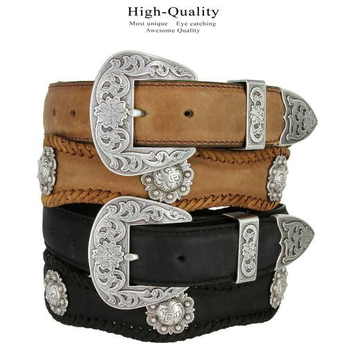"Fort Worth Cowboy Cowgirl Western Belt Crazy Horse Scalloped Genuine Leather Belt 1-1/2""(38mm) Wide"