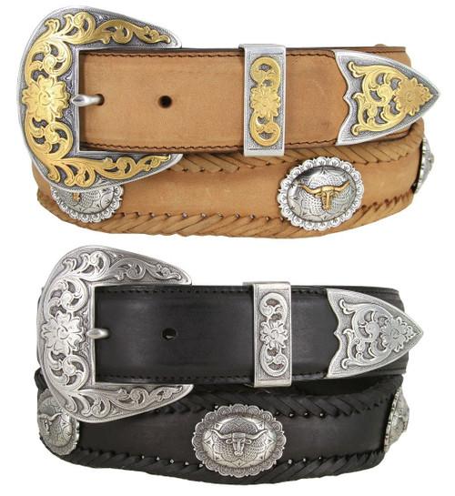 "Western Longhorn Steer Conchos Crazy Horse Scalloped Genuine Leather Belt 1-1/2""(38mm) Wide"