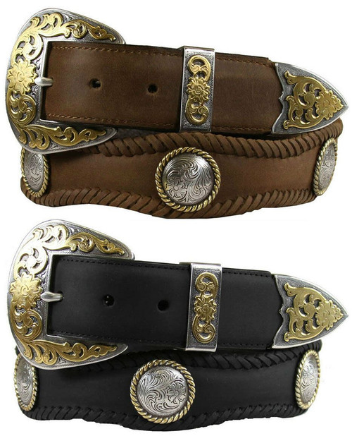 """Lord Jim Western Belt Crazy Horse Scalloped Genuine Leather Conchos Belt 1-1/2""""(38mm) Wide"""