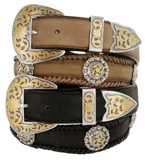 """Gold Coloma Conchos Crazy Horse Scalloped Genuine Leather Western Belt 1-1/2""""(38mm) Wide"""