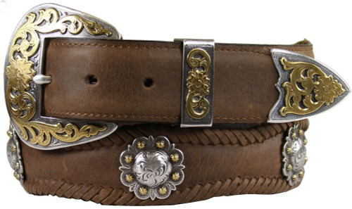 """Old Saddle Berry Conchos Crazy Horse Scalloped Genuine Leather Western Belt 1-1/2""""(38mm) Wide"""
