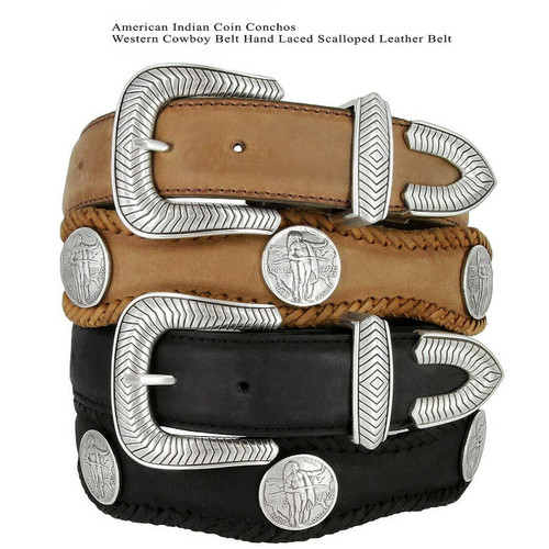 """American Indian Coin Conchos Crazy Horse Scalloped Genuine Leather Western Belt 1-1/2""""(38mm) Wide"""