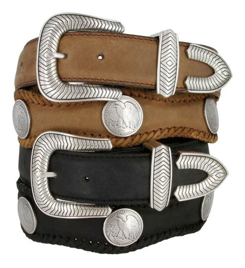 """Arlington Eagle Coin Conchos Crazy Horse Scalloped Genuine Leather Western Belt 1-1/2""""(38mm) Wide"""