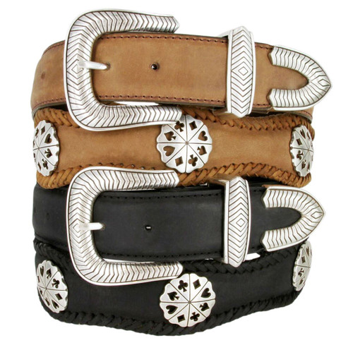 """Poker Hand Card Suit Conchos Crazy Horse Scalloped Genuine Leather Western Belt 1-1/2""""(38mm) Wide"""