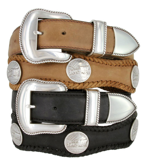 """Oregon Trail Coin Conchos Crazy Horse Scalloped Genuine Leather Western Belt 1-1/2""""(38mm) Wide"""