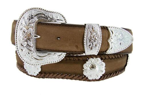 """La Grange Western Belt Crazy Horse Scalloped Genuine Leather Conchos Belt 1-1/2""""(38mm) Wide"""