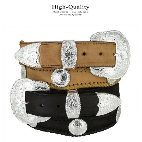 "Silver City Western Belt Crazy Horse Scalloped Genuine Leather Conchos Belt 1-1/2""(38mm) Wide"