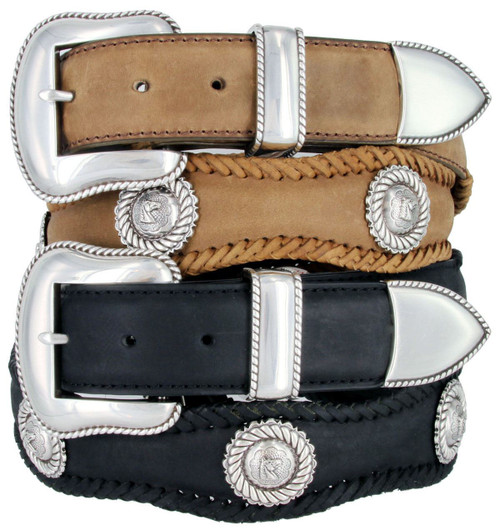 """Western Antique Horse Head Conchos Crazy Horse Scalloped Genuine Leather Belt 1-1/2""""(38mm) Wide"""