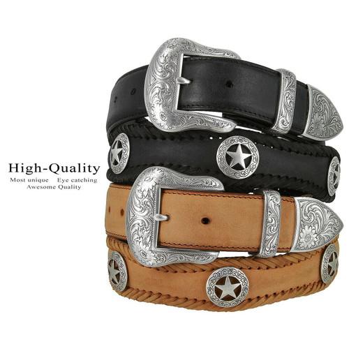 "San Antonio Star Conchos Crazy Horse Scalloped Genuine Leather Western Belt 1-1/2""(38mm) Wide"